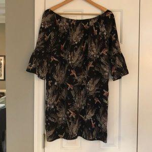 Off shoulder bell sleeve black bird dress